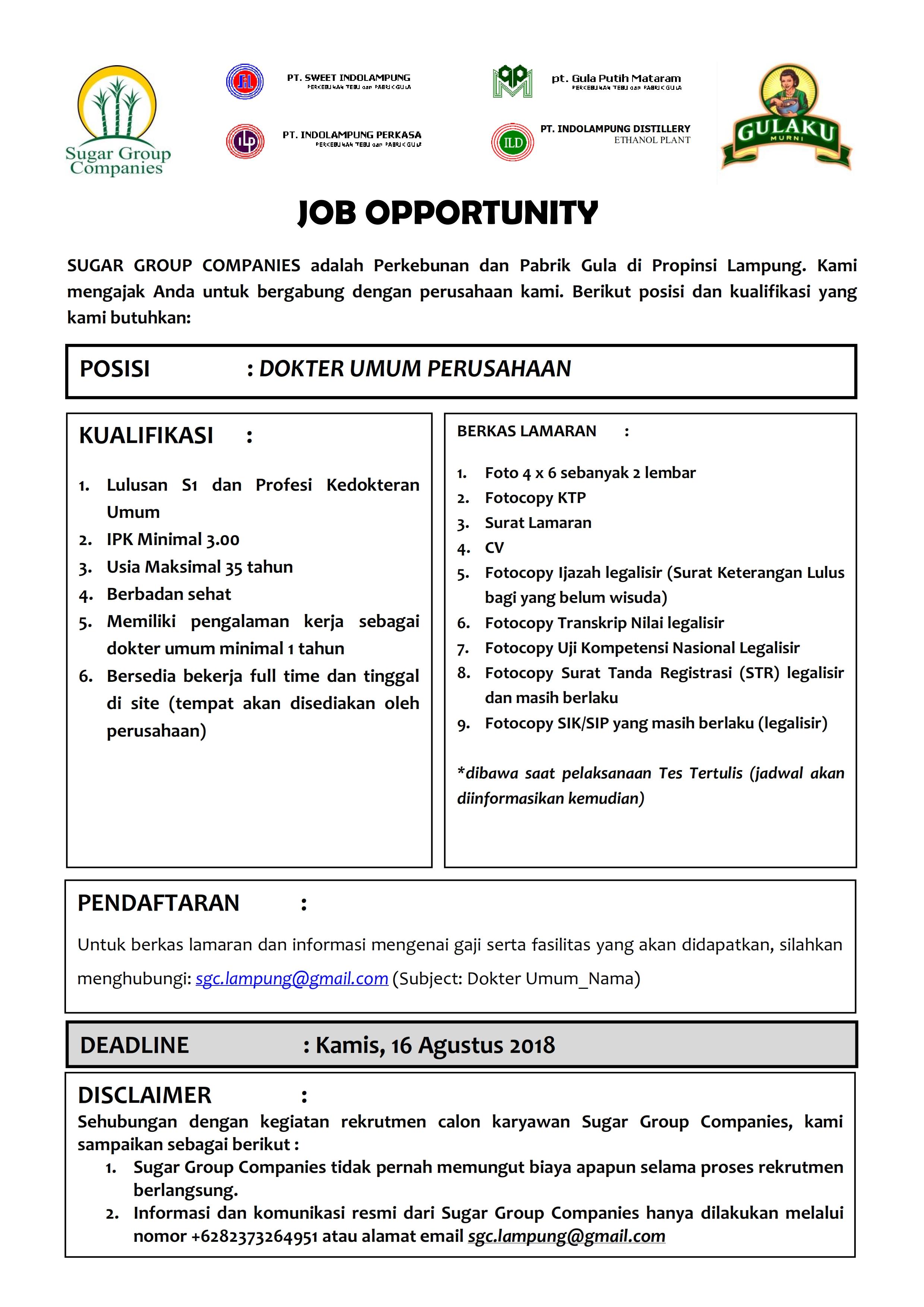 Cced Universitas Lampung Dokter Umum Perusahaan Pada Sugar
