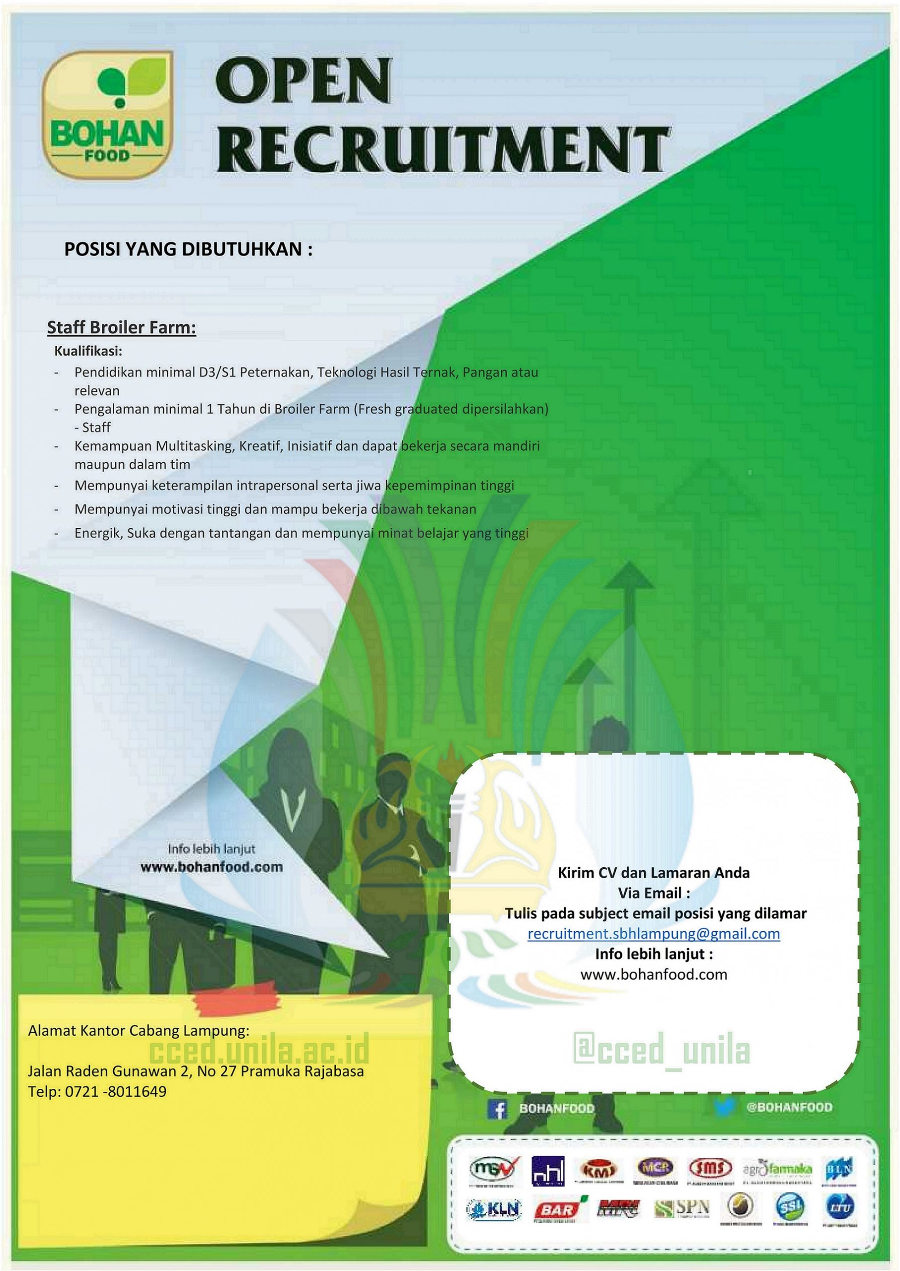 Cced Universitas Lampung Staf Broiler Farm Pada Pt Sentra Boga Handal Loker Lampung